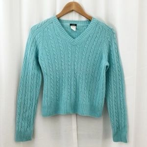 J. Crew light blue cable knit cropped sweater S/M